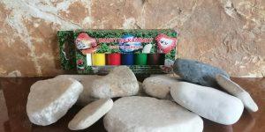 Sada kamínků a základních barev - Kamínky na malování